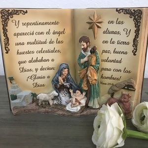 Holy Family in Bible Decor Figurine. Christmas